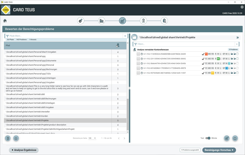 Tabelle aller gefundenen Probleme durch TEUS mit Details zu den Zugriffsberechtigungen und Vererbung